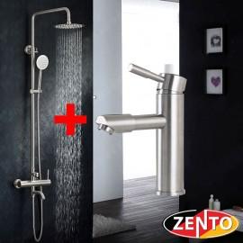Combo sen cây & vòi lavabo inox304 zento KM103