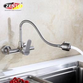 Vòi rửa bát gắn tường nóng lạnh inox304 SUS4651-1